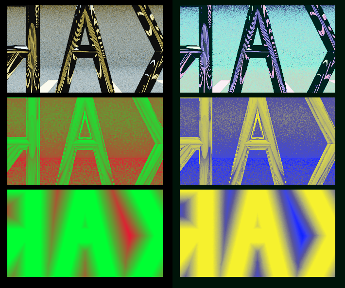 A regular rendering, and two showing that going into corners takes many steps, as does passing through the gaps between letters on the first ray.