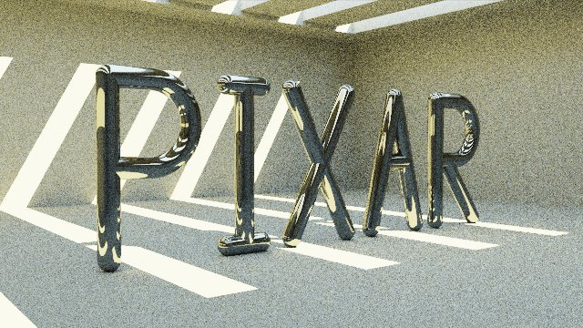 A render of the PIXAR letters with round edges in all dimensions.